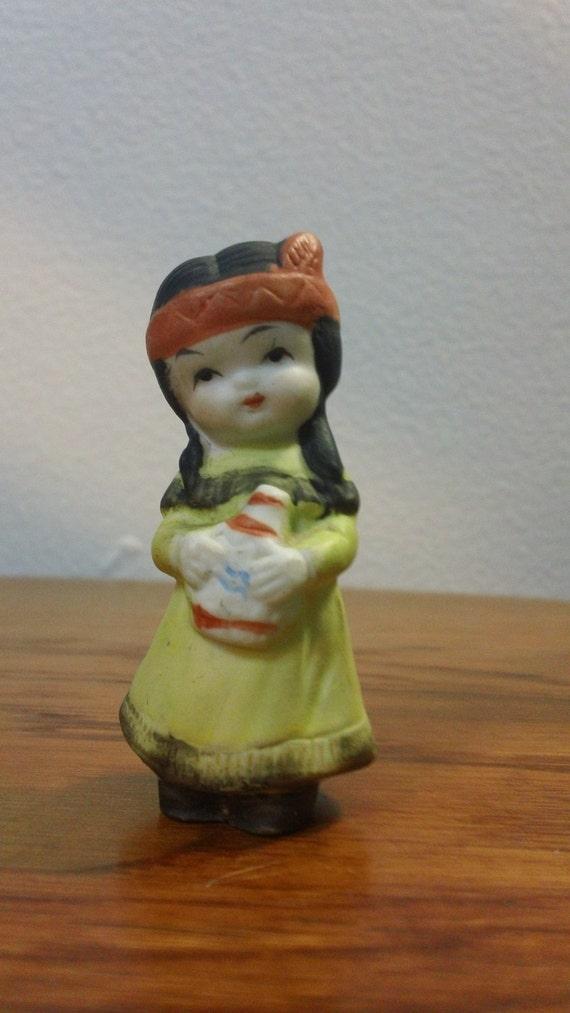 Native American Girl Mid Century Small Ceramic Figurine