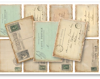 Digital Collage Sheet Download - Vintage Postcard Tags -  699  - Digital Paper - Instant Download Printables