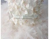 Girl Feather Dress- Ivory Hydrangea Feather Dress