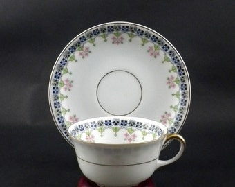 Epiag Fischer & Mieg 6154 St Regis Pattern Flat Cup and Saucer Set - Vintage 1920s 1930s  Tableware