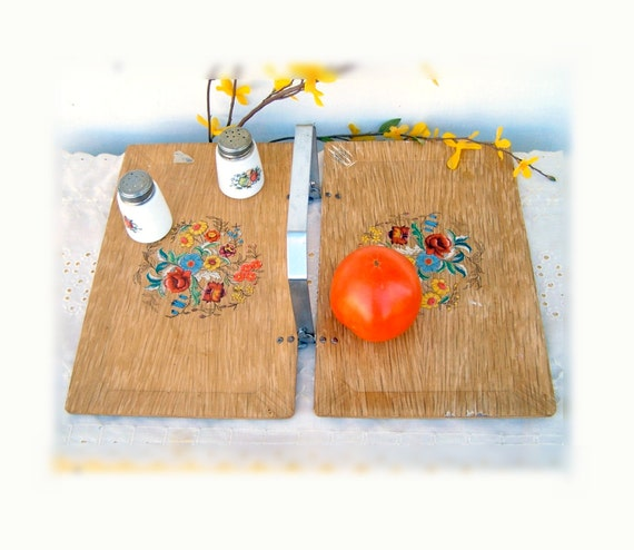60s Wood Serving Tray - folding wooden  tray - breakfast in bed TV tray,  Haskelite (HASCO) Vintage Home Decor , Very Cool