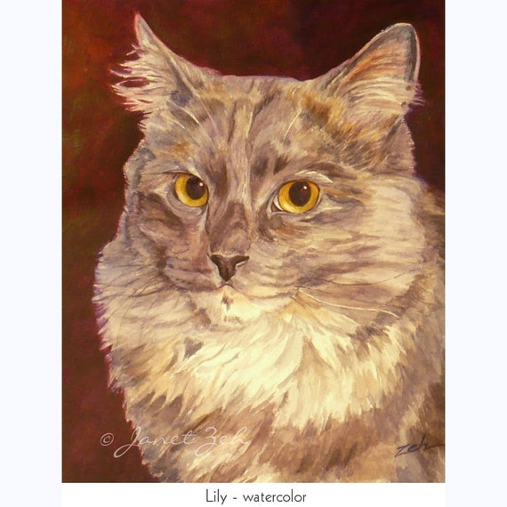 Cat Portrait 8x10 Custom Commisioned Watercolor or Oil Pet Painting from Photos by Janet Zeh