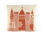 Decorative Pillow -Windy Castle - soft knitted pillow -18x18, includes insert