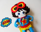 Super Hero Doll Puppet, Super Girl Soft Doll, Push Toy, Action Figure Softies.