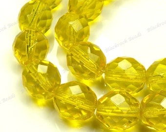 10mm Yellow Faceted Round Czech Glass Beads - 20pcs - Fire Polished Glass - BD21