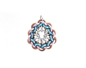 Pastel Jump Ring Pendant, Chain Maille Pendant, Multicolor Jewelry, Chain Maille Jewelry, Pastel Pendant