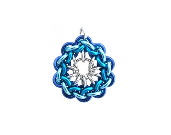 Chain Maille Pendant, Blue Pendant, Jump Ring Jewelry, Blue Chain Maille Jewelry