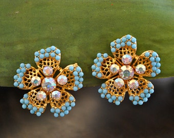 VINTAGE TURQUOISE FLOWER clip earrings