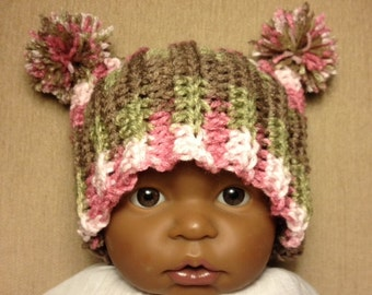 Pink Camo Baby Hat With Pom Poms