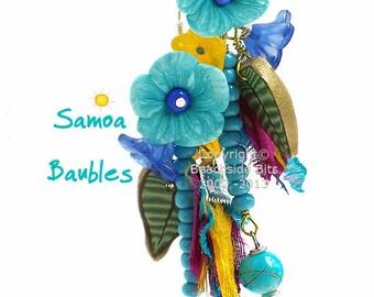 SAMOA, Artist Flower Earrings, Sterling Silver, Long, Colourful, Light and Luscious, Sari Silk, Australian Made
