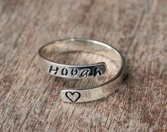 Personalized Wrap Ring, Sterling Silver Custom Adjustable Ring, Military Ring, Customized Ring, Bypass Ring, Name Ring, Custom Ring Jewelry