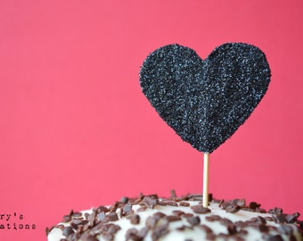 Glitter BLACK Heart Cupcake Toppers. 20 pieces