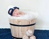 Newborn Backward Baseball Hat - Baby Boy-Photo Prop