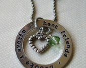 Best Friends necklace birthstones heart charm personalized hand stamped washer
