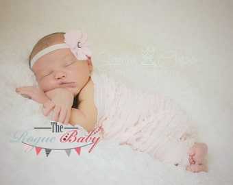 """Petite Pink & White Baby Headband -  Photo Prop - Newborn Infant Baby Toddler Girls Chiffon 3/8"""" with Antique Pearl Center"""