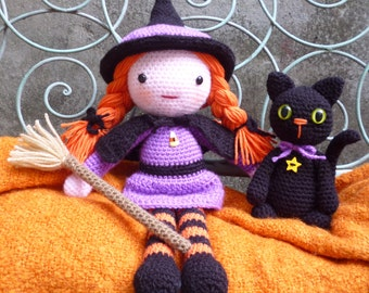 Morgana & Soots,Witch and Cat Amigurumi Dolls Crochet Pattern