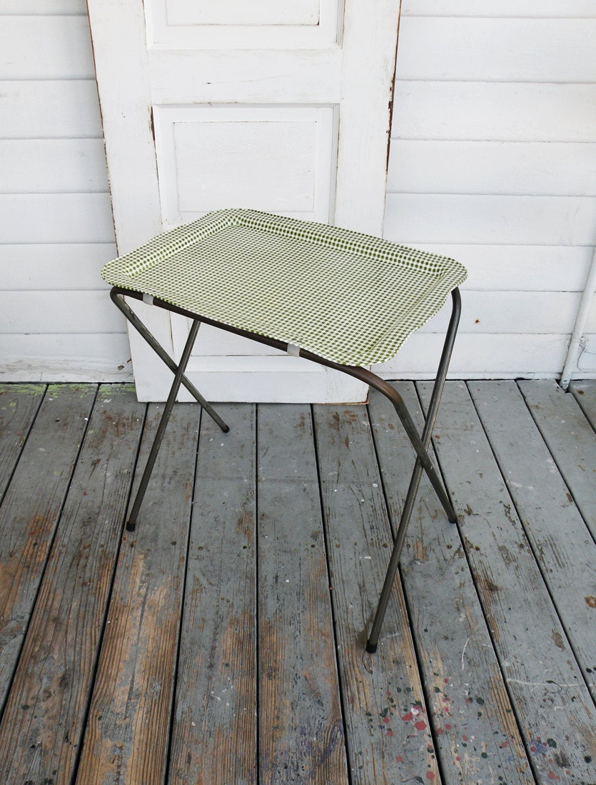 Vintage Green Gingham Folding Metal Tv Tray Table Mid