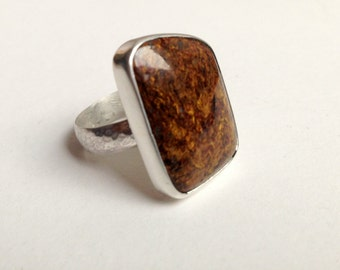 Pietersite Gemstone and Sterling Silver Cocktail Statement Ring