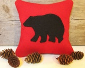 Decorative Balsam Pillow / Maine Balsam Fir Pillow / Rustic Bear Pillow / Red Pillow / Six Inch Pillow - AwayUpNorth