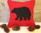Decorative Balsam Pillow, Maine Balsam Fir Pillow, Rustic Bear Pillow, Six Inch Pillow