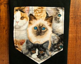 Bigger Cat pocket tshirt S/M/L/XL/2x/3x