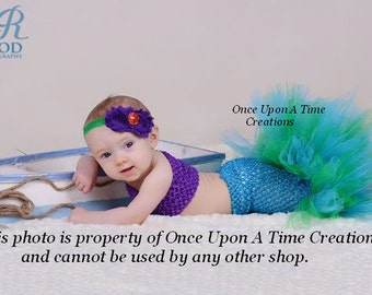 Baby Mermaid Fishtail Tutu Set - Baby Girl Size Newborn 3 6 9 12 Months - Under The Sea Photo Prop Outfit Halloween Costume