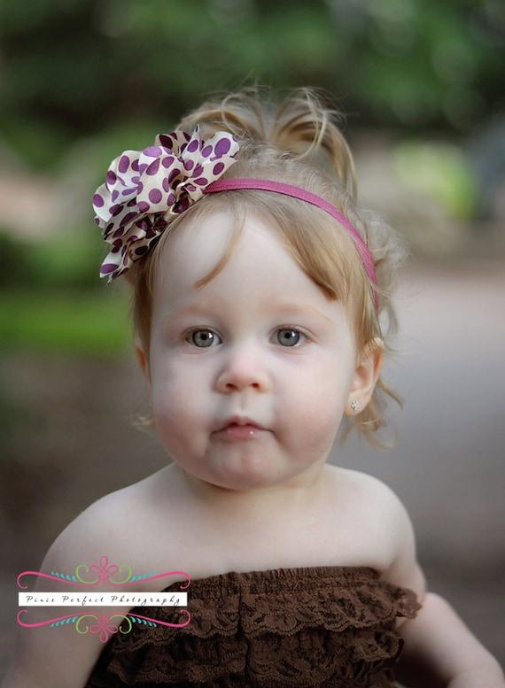 Maroon and Ivory Polka Dot Satin Fabric Flower Puff on Elastic Headband - Newborn Baby Hairbow - Little Girls Hair Bow - Photo Prop