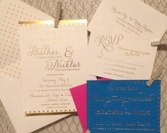 Wedding Invitation, Foil Stamped