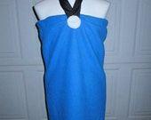 Upcycled Steampunk Clothing - Betty Rubble Dress - Royal Blue Polar Fleece Dress and Black Ribbon Neck Tie, Child Size
