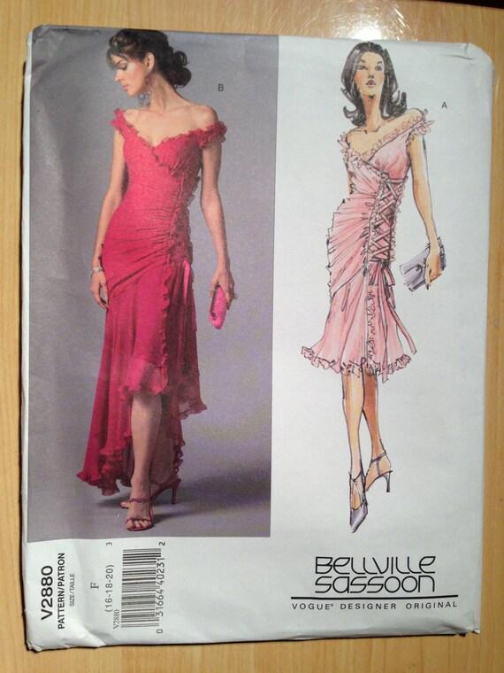 Vogue 2880 Sewing Pattern Bellville Sassoon UNCUT Misses Ruffles Dress Size 16 - 20