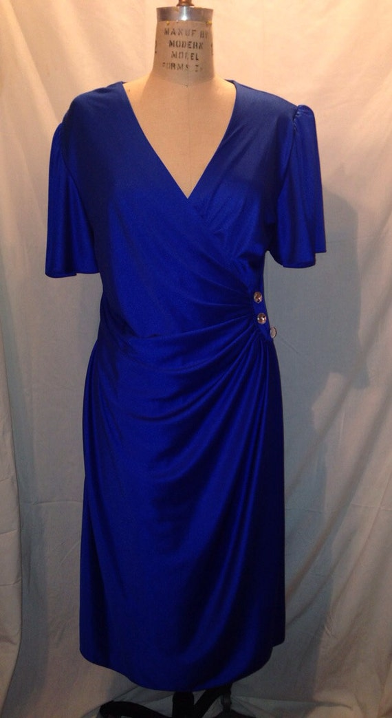 Vintage 1980s Blue Cocktail Dress Sale d44