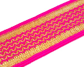 Hot Pink and Gold Gota Patti - Sari Border - Gota Ribbon for Wedding Lehenga Dresses - Raw Silk Border