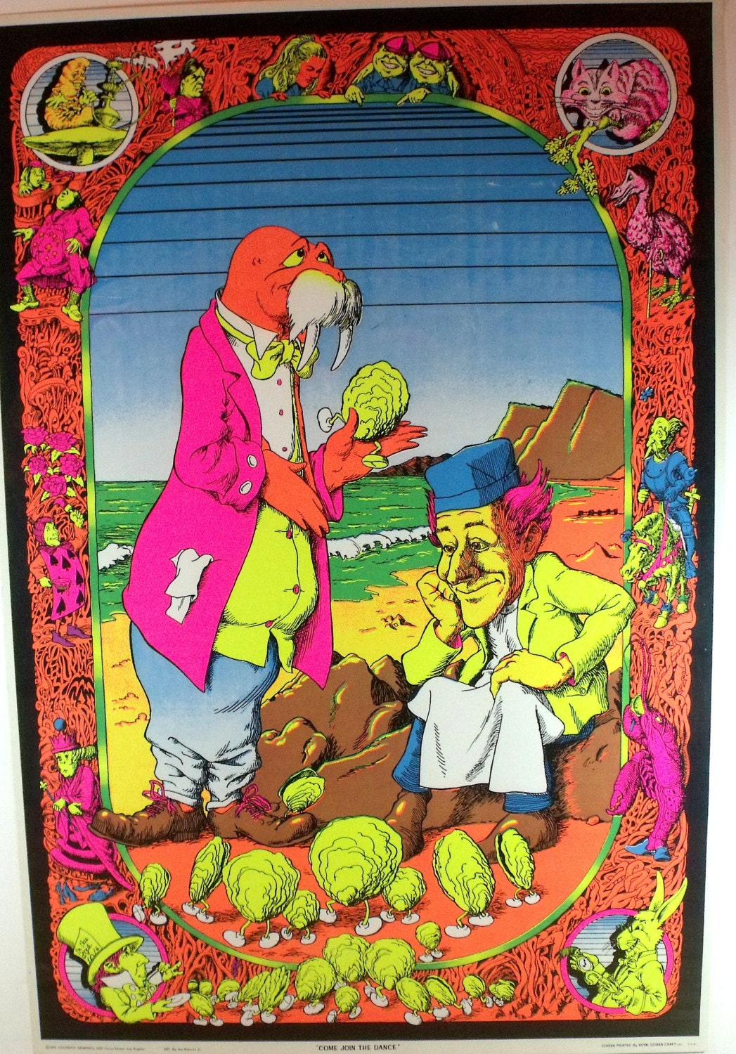 Vintage Blacklight Poster 1970 Come join the Dance