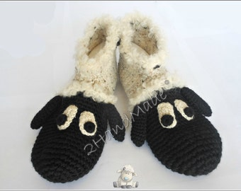 Unisex Adult Chunky Crochet Sheep Slippers Women Men Children Teens Funny Silly Winter Merino Wool Woodland Black Ivory Animals Woodland