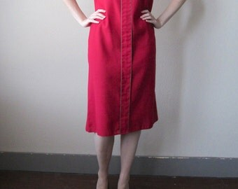 1980s Red Sheath Dress