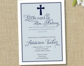 Baptism invitation. Christening announcement. boy or girl. Little ones to Him belong