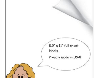 Full Sheet Labels 8.5 X 11 Blank White Labels For Sticker Crafts,Scrapbooks, Shipping Pack of 100 Full Sheets Labels
