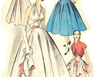 Vintage 1950s Advance 6092 Marilyn Monroe Inspired Halter Top Hollywood Glamour Evening Gown Sewing Pattern Homecoming Queen Size 12