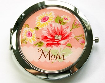 Personalized compact mirror, compact mirror, peach, orange, pocket mirror, personalized, custom, purse mirror, flower mirror, floral (2895)