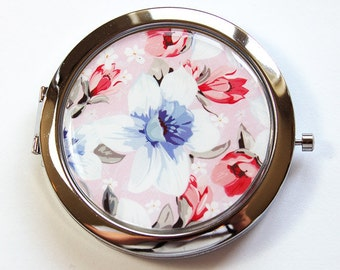 Flower compact mirror, Flower Mirror, mirror, floral, Floral mirror, Pocket mirror, Flower pocket mirror (2939)