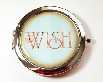 Compact mirror, Pocket mirror, Wish, mirror, Mirror for purse, Inspirational, Blue mirror, blue compact mirror (2996)