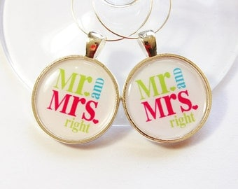 Wine Glass Charms, Mr Right, Mrs Right, barware, table setting, silver plate, Wedding Wine Charms,  Wedding Favor