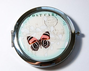 Butterfly compact mirror, pocket mirror, Butterfly mirror, purse mirror, compact mirror, floral mirror, Blue (3060)
