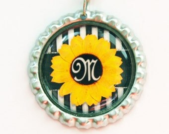 Sunflower Bookmark, Monogram Bookmark, Monogram, Personalized Bookmark, bookmark, custom bookmark, Yellow, Black, Stocking Stuffer (3439)