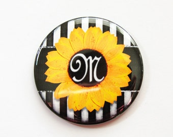 Monogram Pocket mirror, Sunflower, monogram, shower favor, bridesmaid gift, mirror, purse mirror, yellow, black, sunflower mirror (3516)