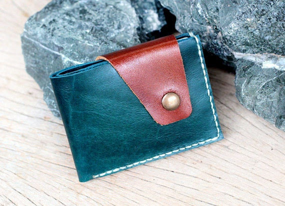Mixza teal-brown leather wallet