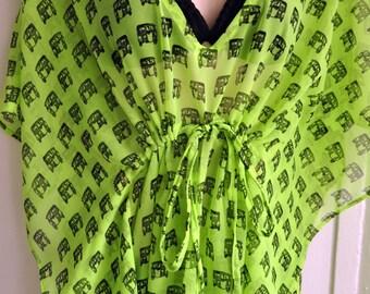 2 options: Neon Green / Neon Pink Rickshaw print Kaftan - short