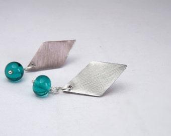 kite stud with transparent teal handblown lampwork glass beads