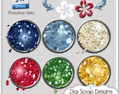 Photoshop Glitter Styles in Blue, Red, Green, Silver, and Gold, Instant Download