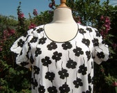 Black and White Pansies Summer Dress - Crisp Cotton designed for fuller figure